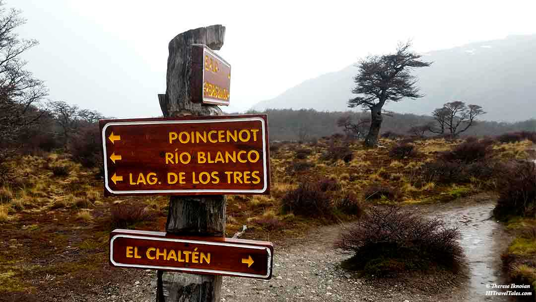 Trail signs to El Chalten in Patagonia