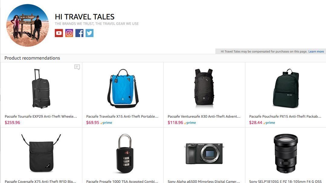 HI Travel Tales Amazon Influencer Page