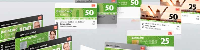 Various Bahncard samples images.