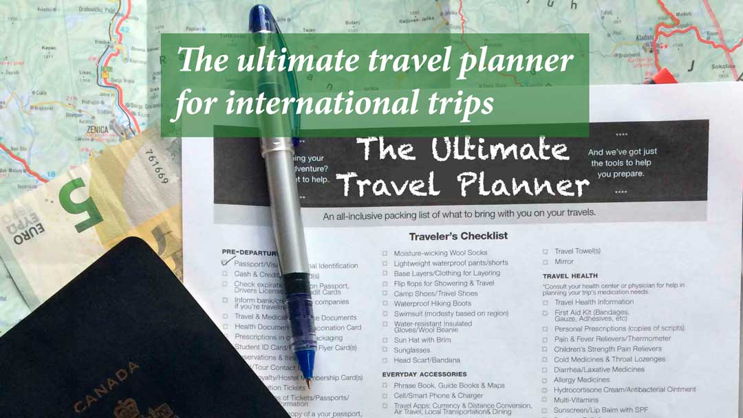 The Ultimate Travel Planner for international trips with checklist and passport