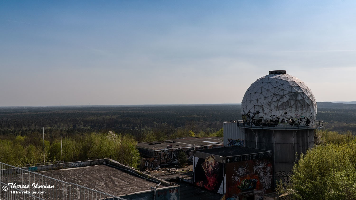 Looking out at the horizon from the building at Teufelsberg.