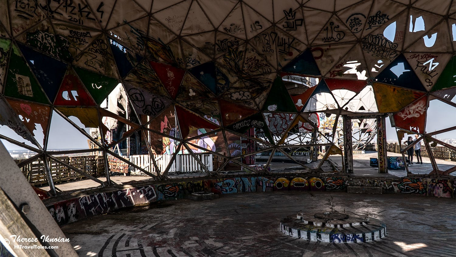 Inside one of the tattered radome domes at Teufelsberg.