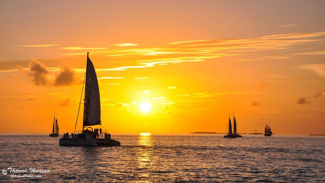 Watching sailboats during a Key West Sunset is one of 4 free things to do
