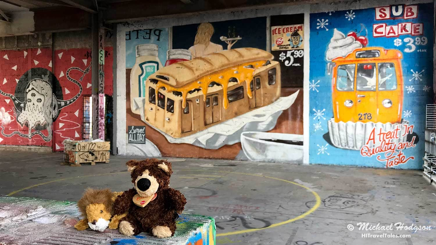 Lou and Orso LOVE the street art galleries at Teufelsberg