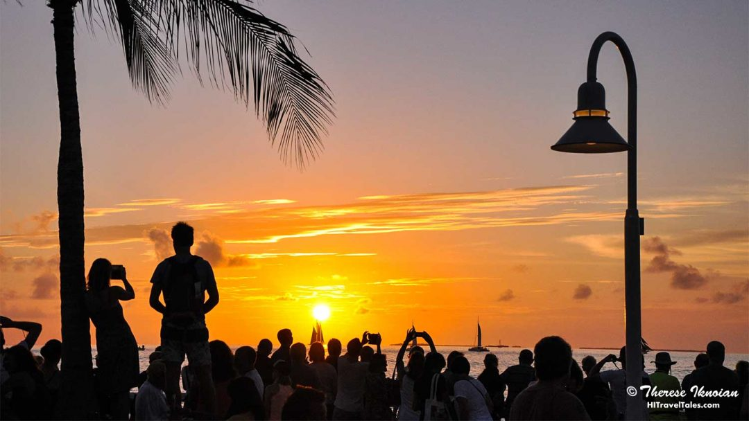 Crowds at the sunset celebration on Mallory Square in Key West