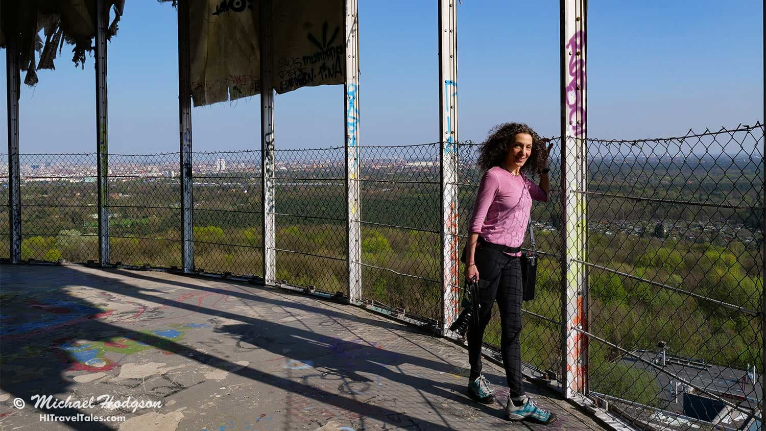 It's not all about the street art. Therese taking in the view at Teufelsberg.