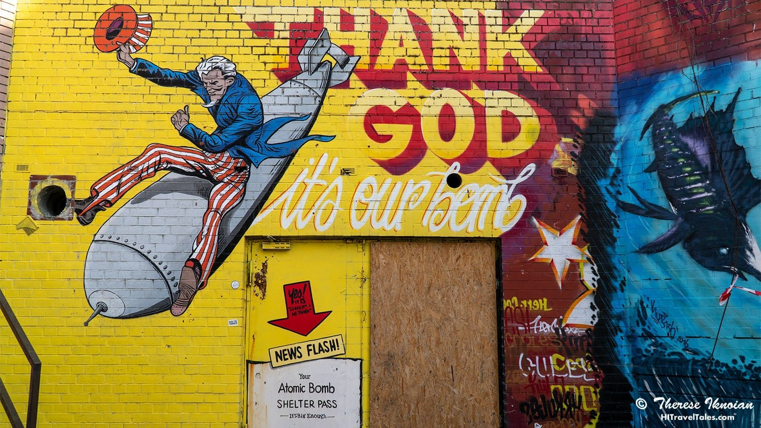 Uncle Sam riding on a bomb depicted in street art at Teufelsberg.