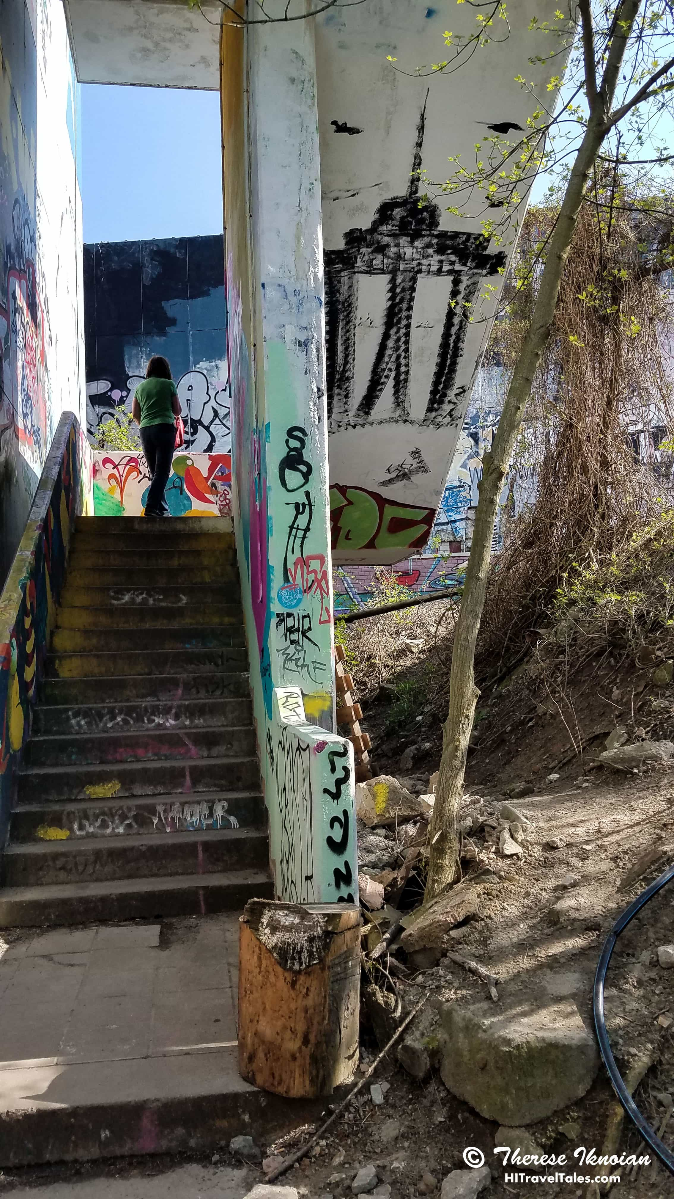 Climbing the stairs into Teufelsberg exhibits.