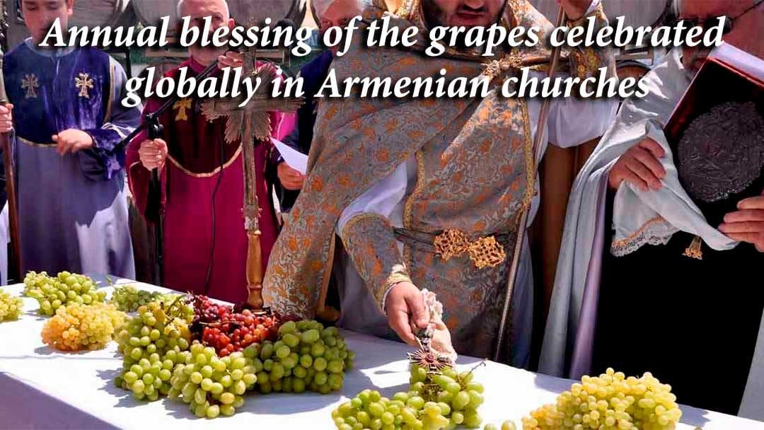 Blessing of the grapes ceremony at the Armenian church in Fresno