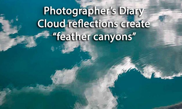 Cloud reflections create feather canyons on Rocky Mountaineer train