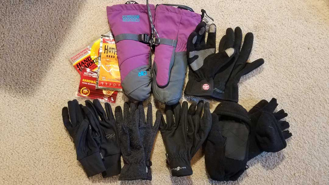 Therese's glove selection for staying warm in Antarctica.