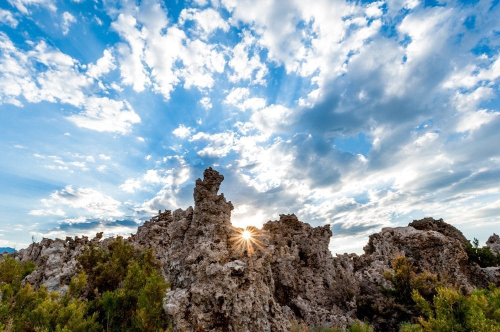 Mono Lake sunburst photos