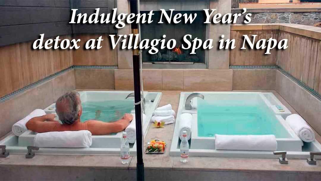Michael in the hot baths at Villagio Spa in Napa