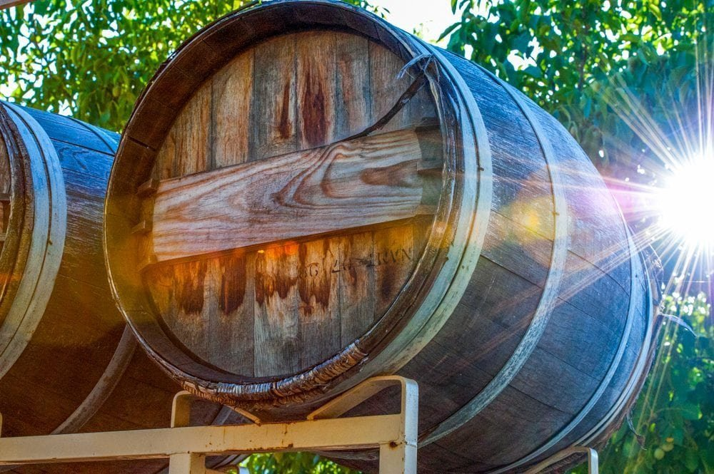 Vineyard barrel with a sunburst