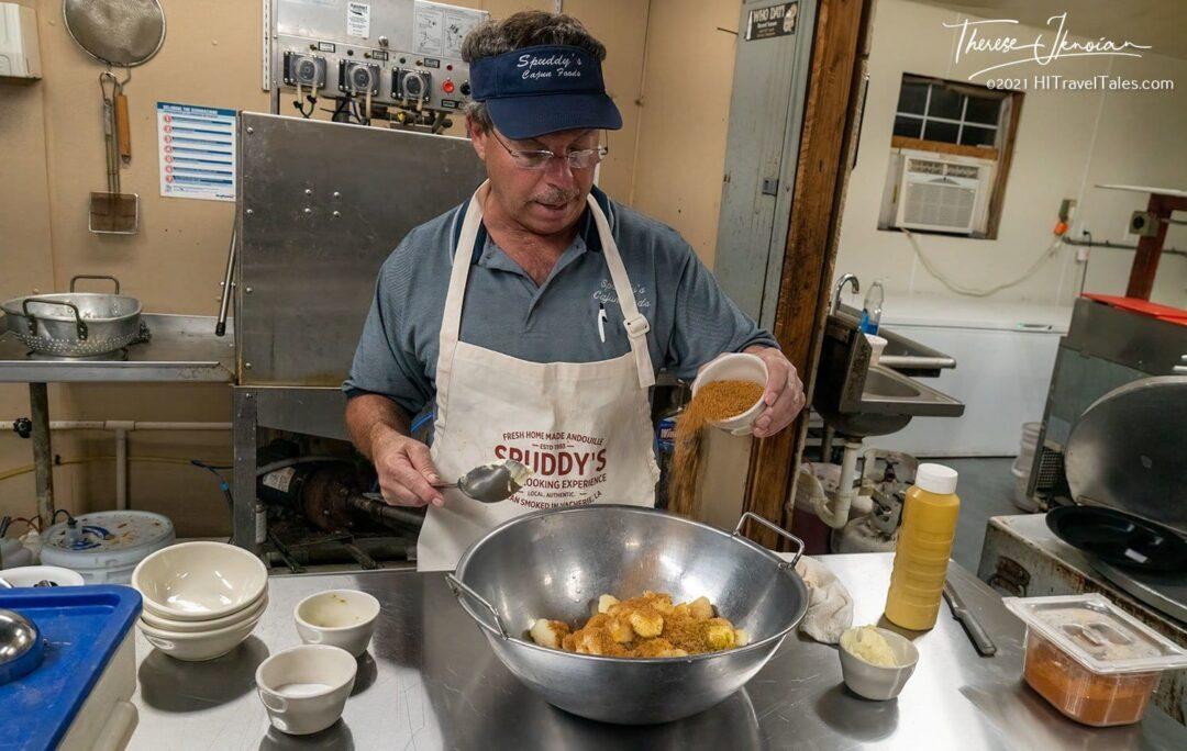 Making Cajun Potato Salad For Gumbo