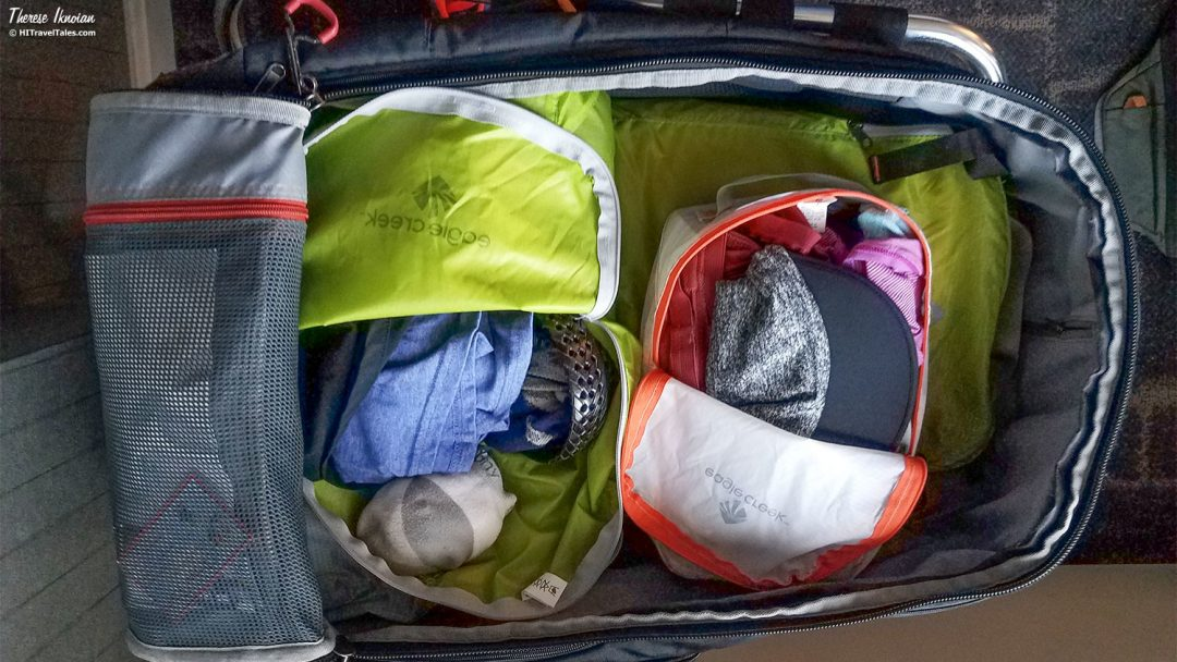 Never forget stuff in hotel room by using packing cubes in your suitcase.