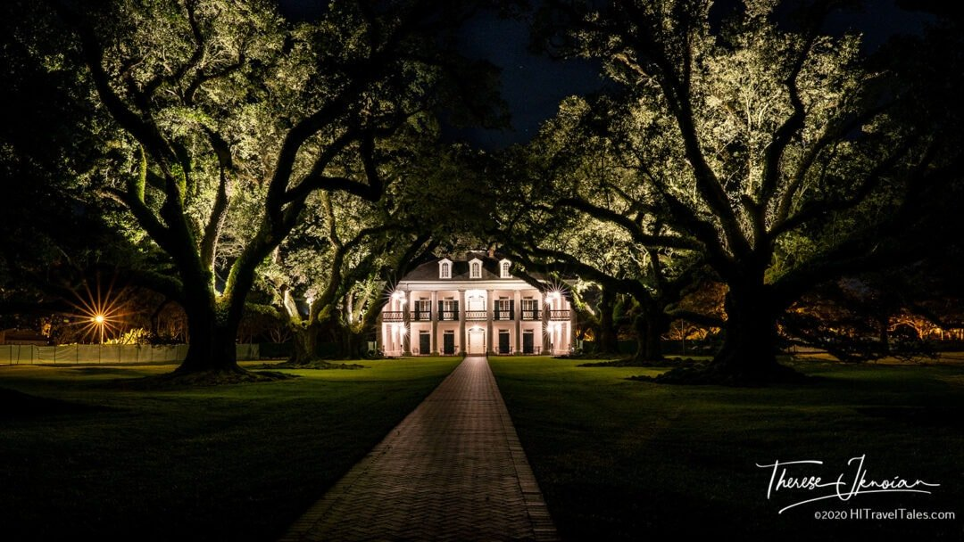 Oak Alley Plantation at night on the Mississippi Great River Road