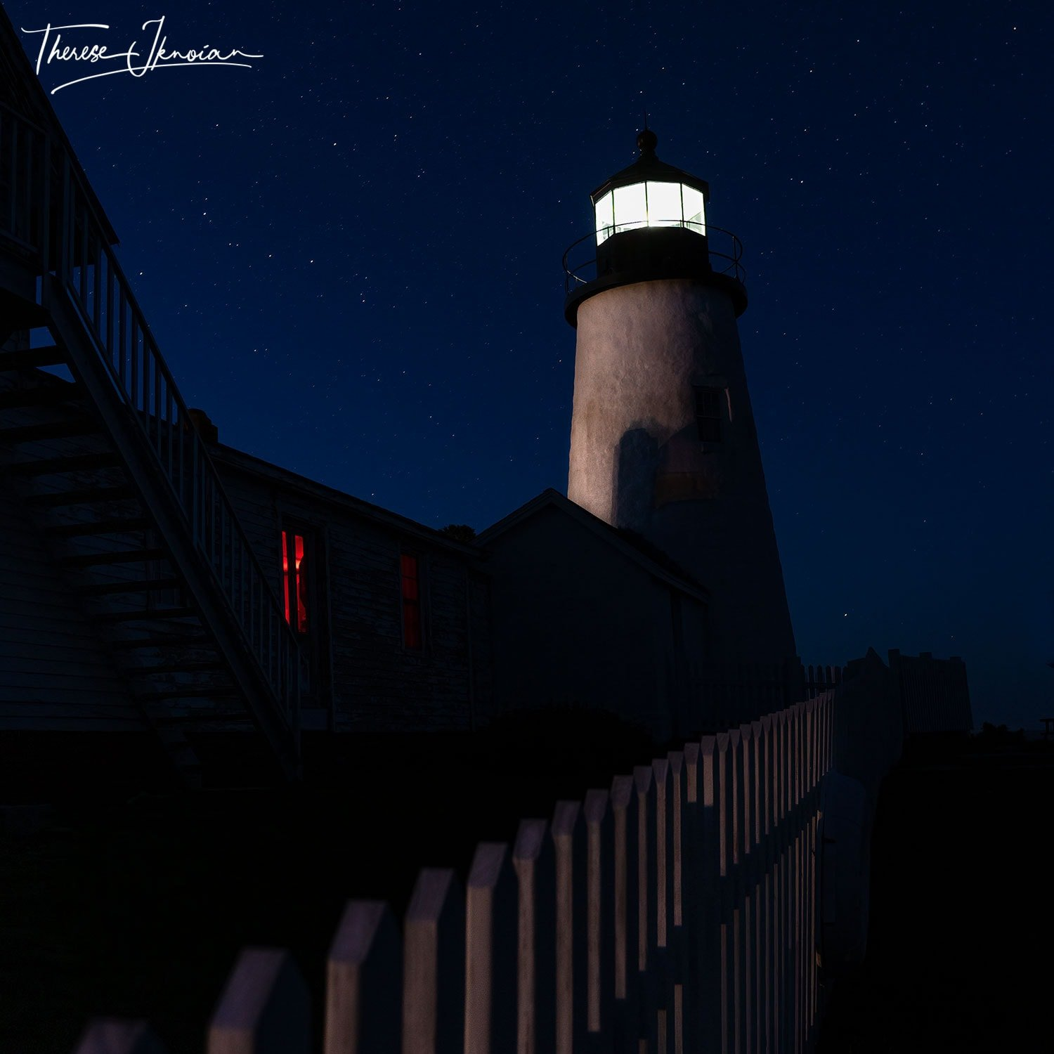 Pemaquid MidCoast Maine Lighthouses with Fence Red Window
