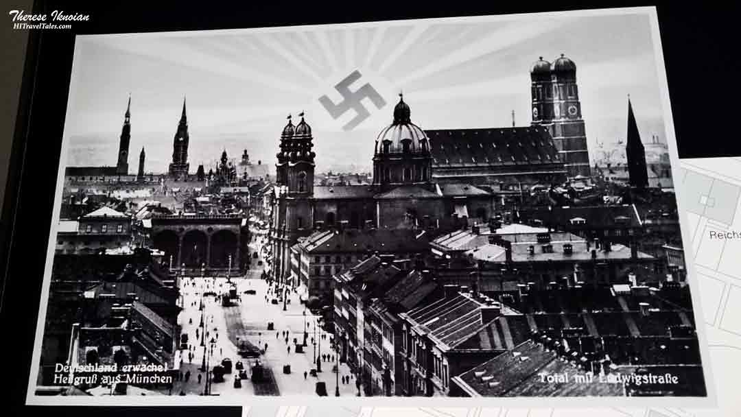 Swastika rising from an NS Documentation Center display in Munich