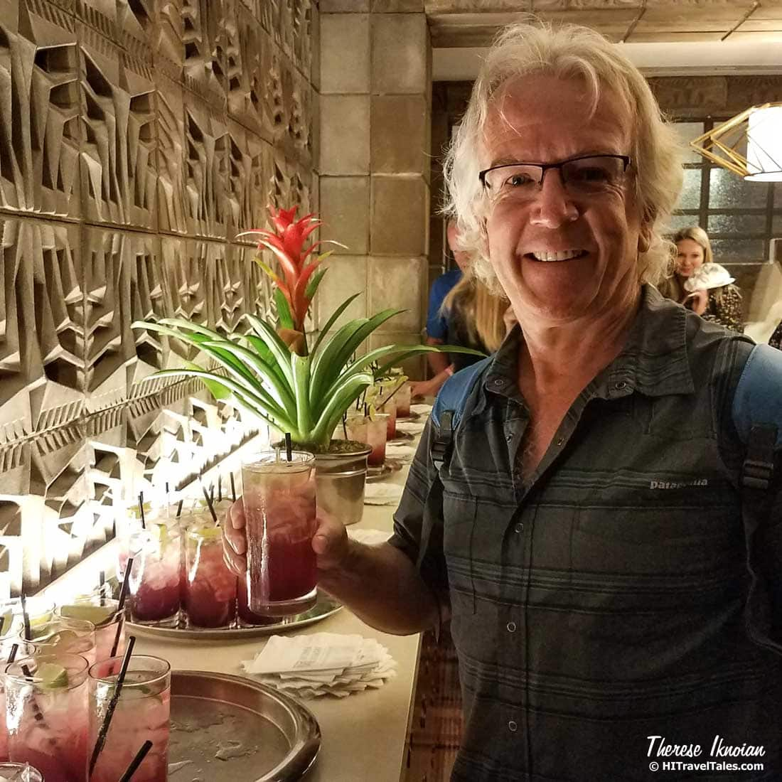 Michael sampling a Tequila Sunrise at the Arizona Biltmore