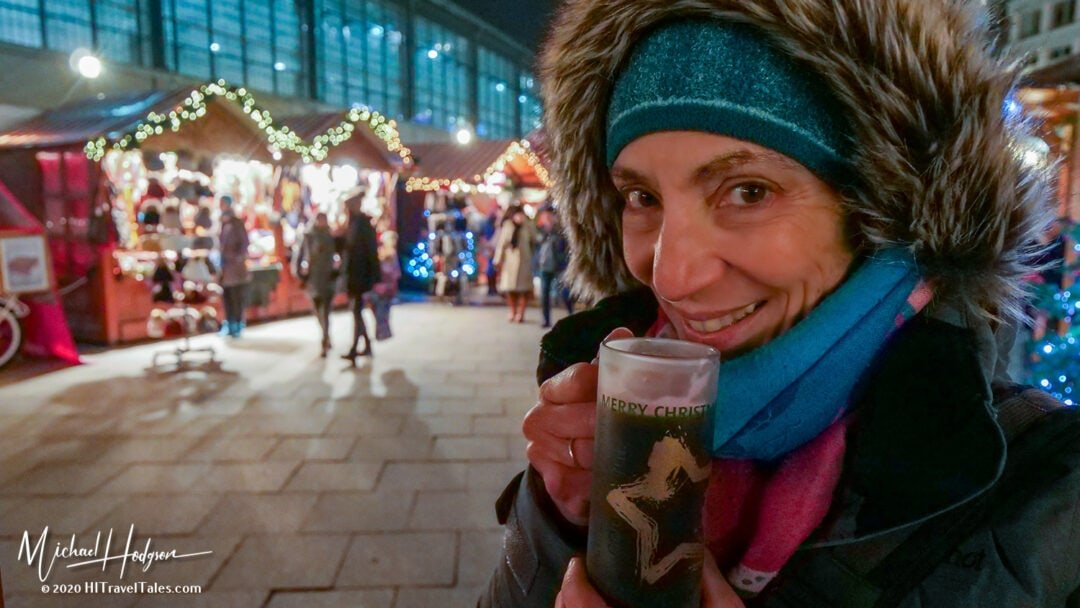 Therese drinking German mulled wine in Berlin Christmas