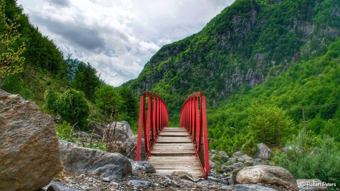 Red Bridge On Waterfall Hike
