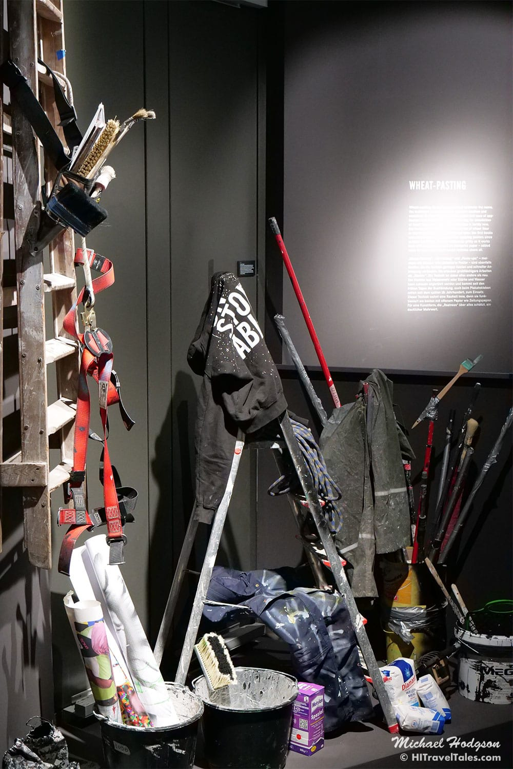 A display showing the various tools used by urban or street artists to create their artwork.