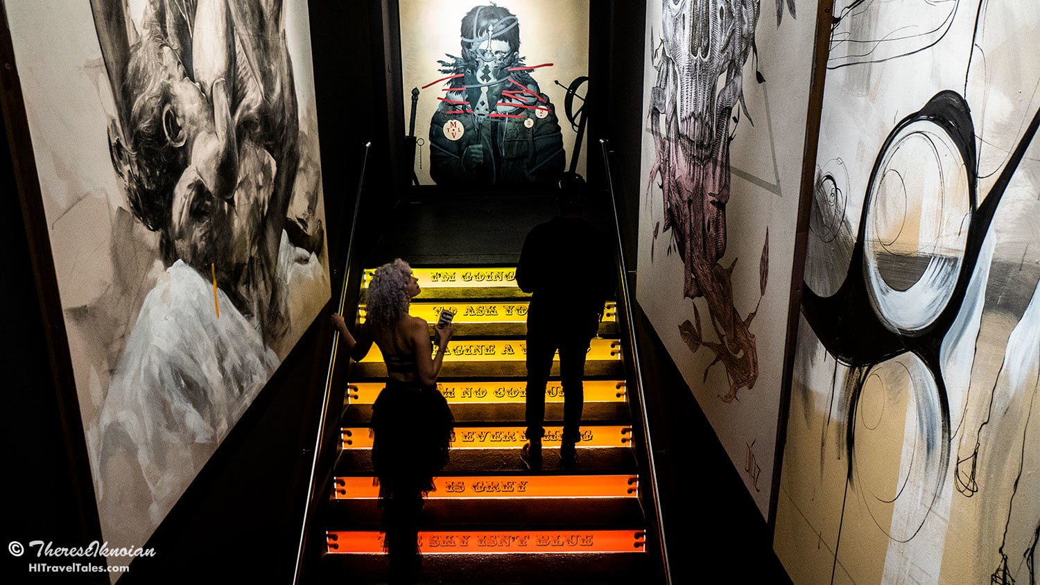 Walking up the stairs to the second floor exhibits is anything but boring ... art is everywhere!