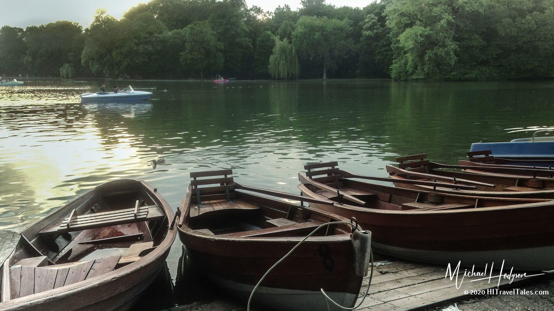 Boats On The Lake At Englischer Garten In Munich