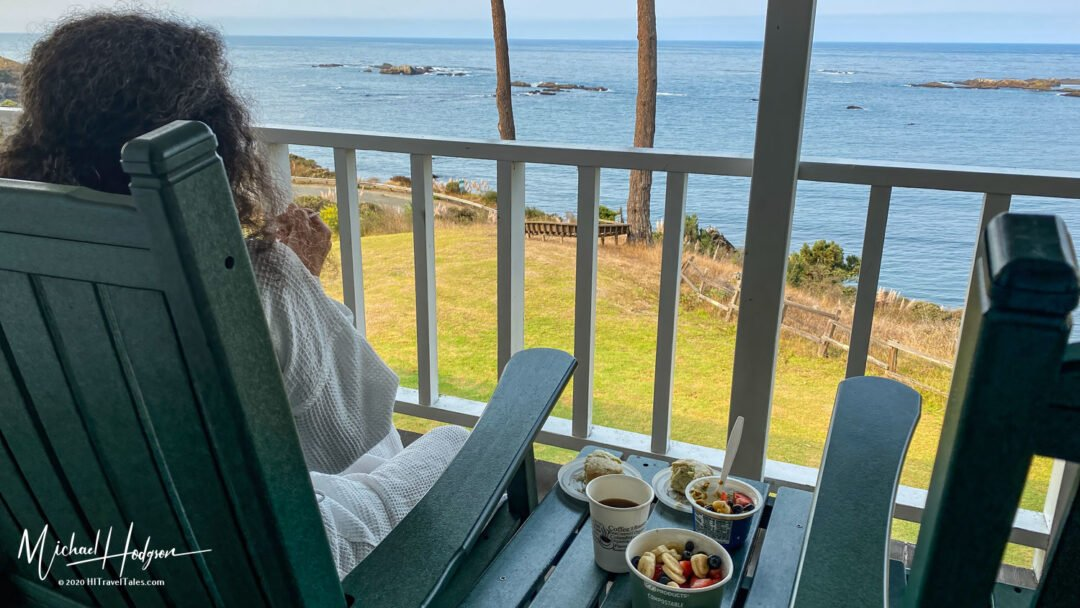 Therese Iknoian Enjoying Breakfast With A View Of The Pacific Oc