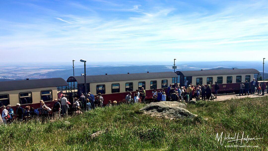 Brockenbahn Railway Passengers Disembark On The Summit Of The Broc