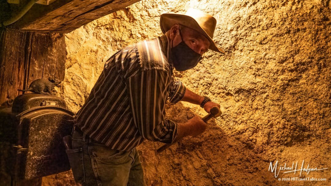 Bill Findley Shows How Miners Drilled Holes Into The Rock At Cho