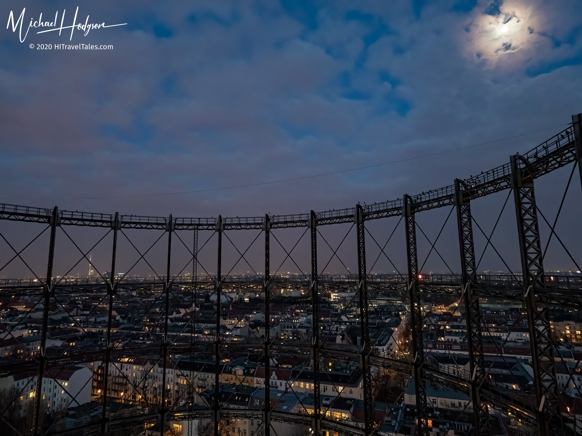 The Berlin gasometer under a full moon