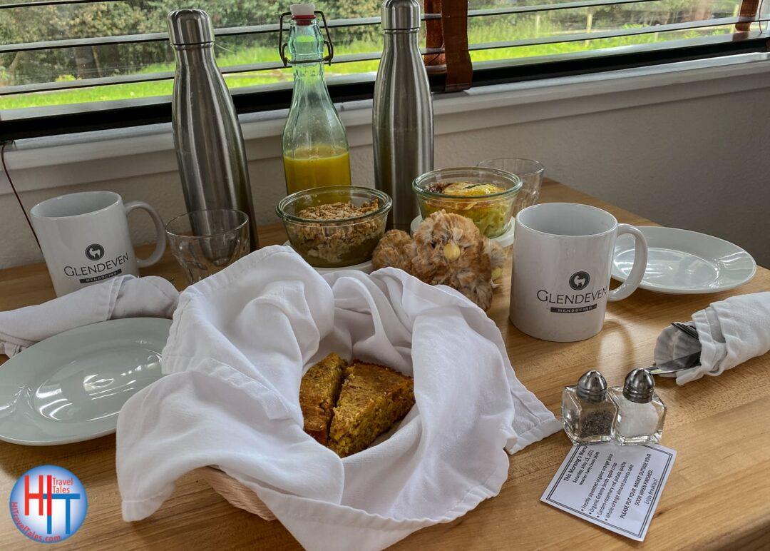 Glendeven Inn Breakfast Laid Out
