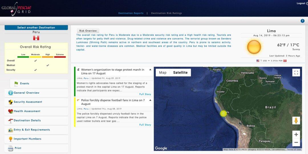 Global Rescue Travel Risk Advisory Peru