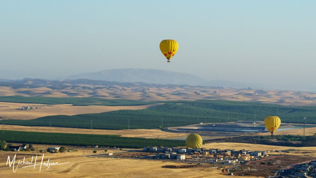 Hot Air Balloon Lifing Off In Winters California