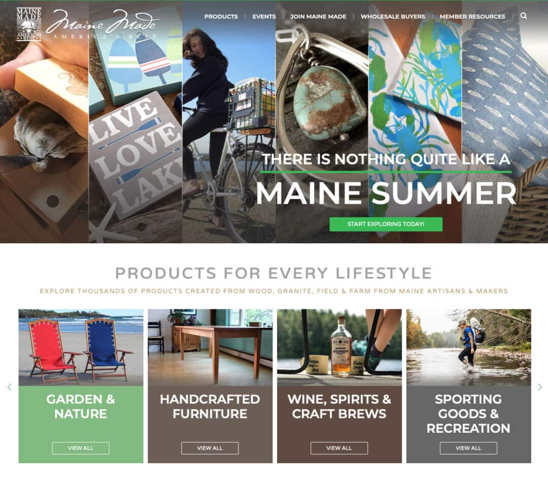 Maine Made Products Website Screenshot