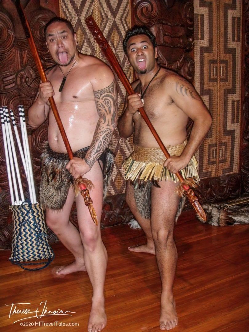 Two Maori Warriors Posing At Waitangi