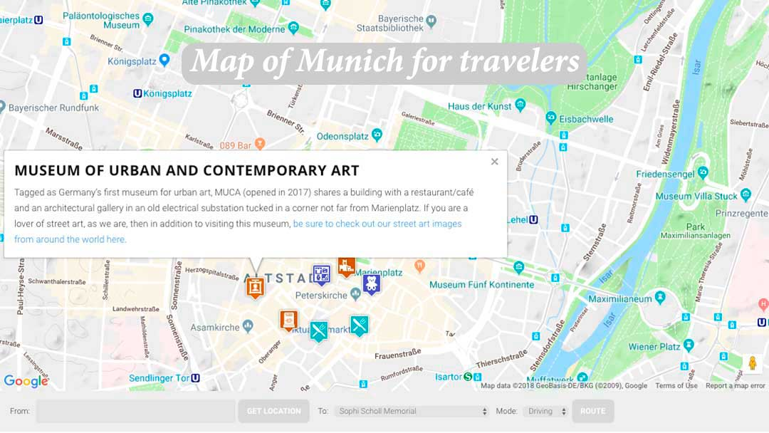 Map of Munich for travelers created by HITravelTales.com