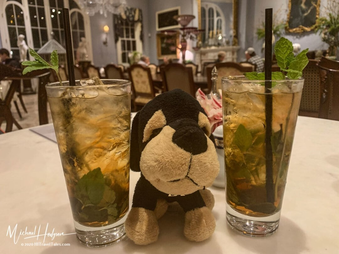 Maurice Enjoys Two Mint Juleps At The Carriage House Restaurant