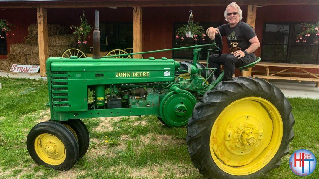 Michael Hodgson Riding John Deere Tractor Rulfs Orchard Adirondacks