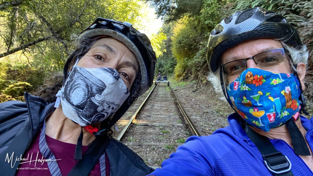 Therese Iknoian And Michael Hodgson Selfie On A Skunk Train Rail