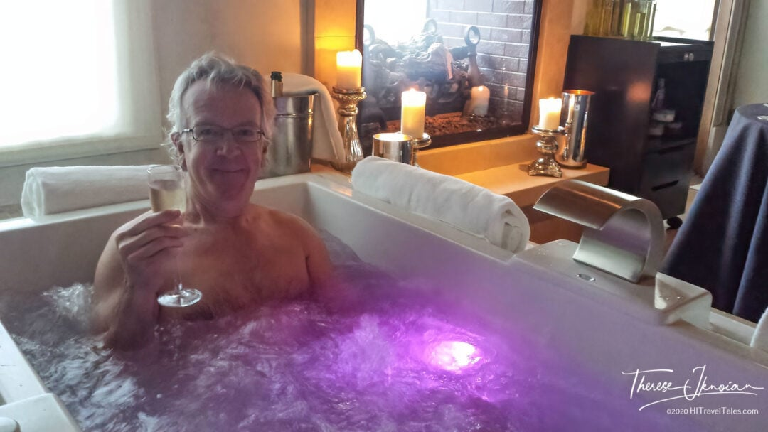 Michael Enjoys A Hot Tub Soak With Champagne At The Villagio Spa
