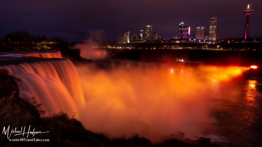 Niagara Falls Illuminated From Prospect Point American Side