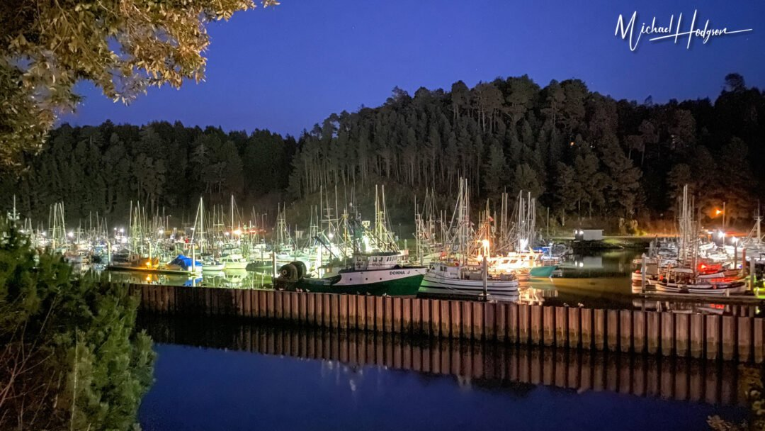 Noyo Harbor View At Night
