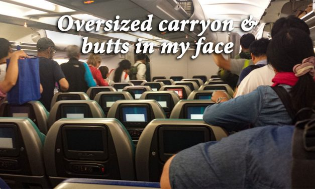 Oversized carryon and butts in my face — the joy of air travel
