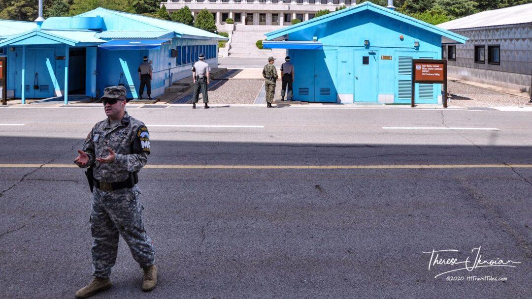 Panmunjom Jsa Village Soldier Addressing Dmz Tour Korea