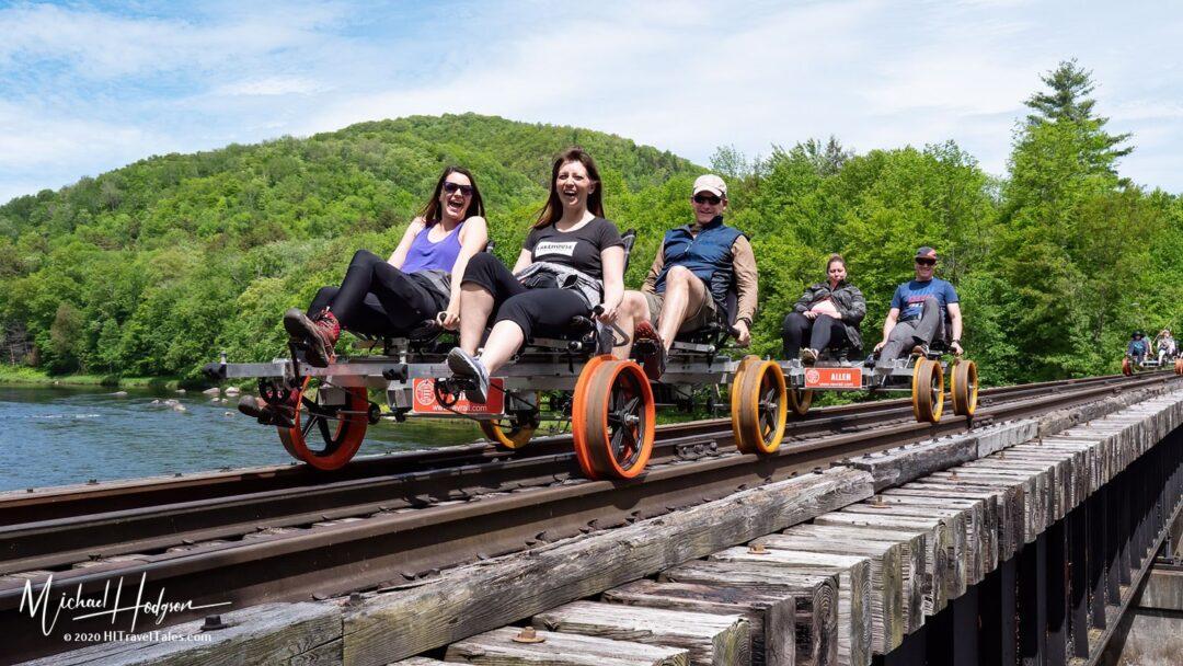 Railbike Revolution Rail Bridge Crossing Hudson River