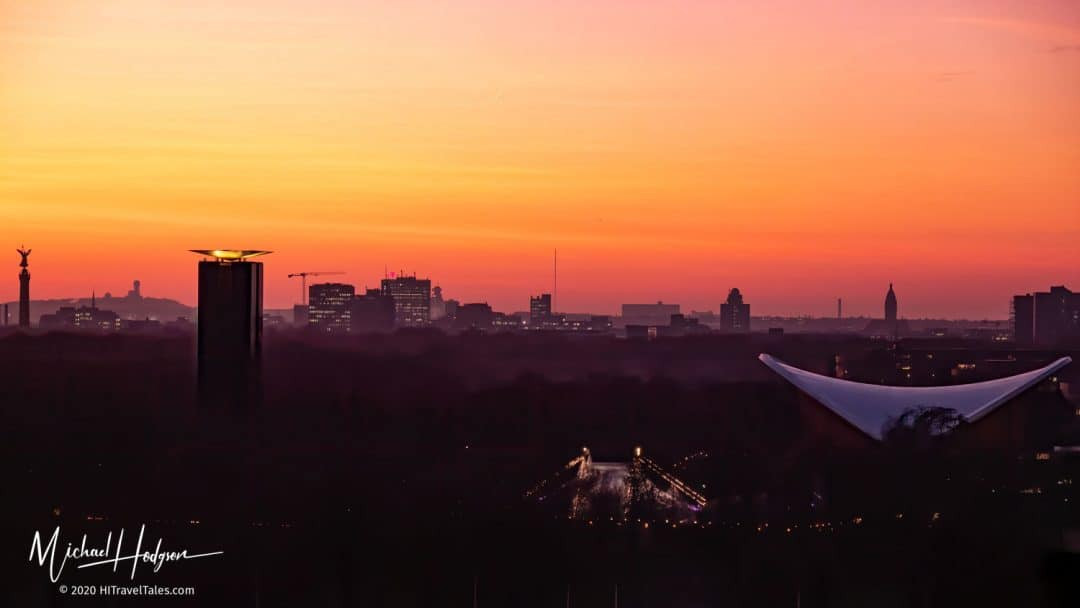 Sunset From The Reichstag Dome Terrace Toward The Victory Column