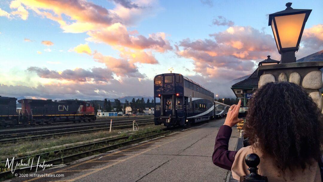 Rocky Mountaineer Luxury Train Rolls Into Jasper At Sunrise